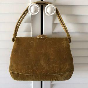 Koret purse vintage velvet yellow gold brochure